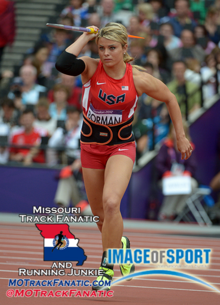 Aug 7, 2012; London, United Kingdom; Brittany Borman (USA) throws 194-5 (59.27m) in the womens javelin qualifying during the London 2012 Olympic Games at Olympic Stadium.