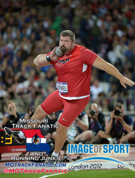 Aug 3, 2012; London, United Kingdom; Christian Cantwell (USA) places fourth in the mens shot put at 69-6 1/4 (21.19m) during the London 2012 Olympic Games at Olympic Stadium.