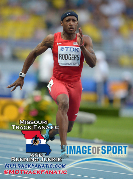 Aug 10, 2013; Moscow, RUSSIA; Michael Rodgers (USA) wins 100m heat in 9.98 for the top time in the 14th IAAF World Championships in Athletics at Luzhniki Stadium.