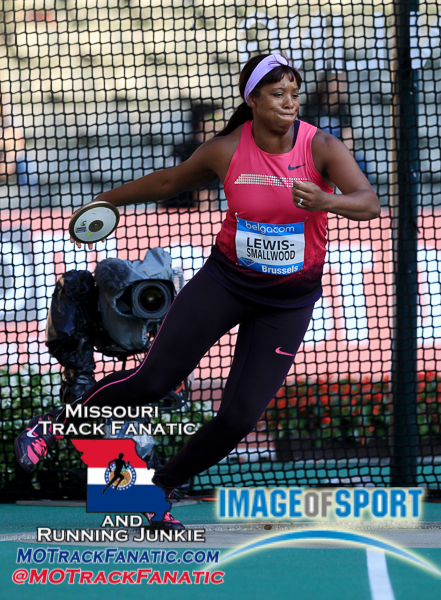 Sep 6, 2013; Brussels, BELGIUM; Gia Lewis-Smallwood (USA) places second in the womens discus at 212-8 (64.82m) in the 2013 Belgacom Memorial Van Damme at King Baudouin Stadium. Photo by Jiro Mochizuki