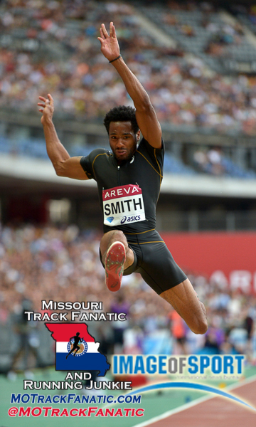 Jul 4, 2015; Saint-Denis, France; Tyrone Smith (BER) places seventh in the long jump at 25-9 1/2 (7.86m) during the 2015 Meeting Areva at Stade de France.
