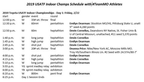 2019 USATF Indoors Day 1 Schedule w MO Athletes Screen Cap