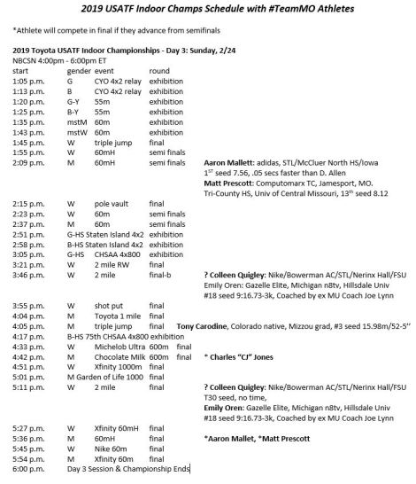 2019 USATF Indoors Day 3 Schedule w MO Athletes Screen Cap